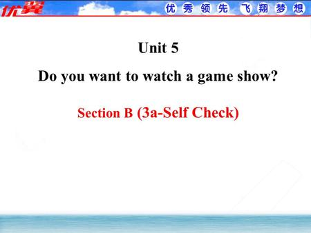 Unit 5 Do you want to watch a game show? Section B (3a-Self Check)