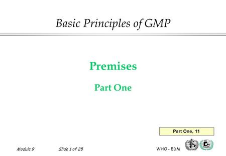 Module 9Slide 1 of 25 WHO - EDM Premises Part One Basic Principles of GMP Part One, 11.