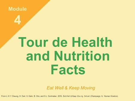 Tour de Health and Nutrition Facts Module 4 Eat Well & Keep Moving From L.W.Y Cheung, H. Dart, S. Kalin, B. Otis, and S.L. Gortmaker, 2016, Eat Well &