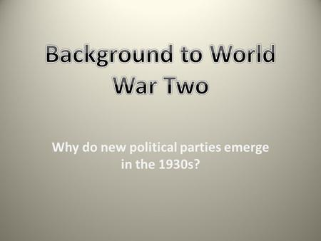 Background to World War Two