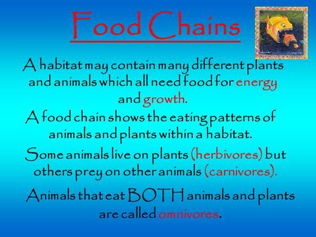 Food Chains A habitat may contain many different plants and animals which all need food for energy and growth. Some animals live on plants (herbivores)