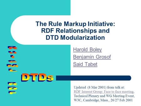 The Rule Markup Initiative: RDF Relationships and DTD Modularization Harold Boley Benjamin Grosof Said Tabet Updated (8 Mar 2001) from talk at: RDF Interest.