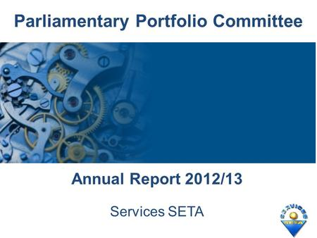 Parliamentary Portfolio Committee Annual Report 2012/13 Services SETA.