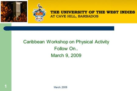 March, 2009 1 Caribbean Workshop on Physical Activity Follow On.. March 9, 2009.