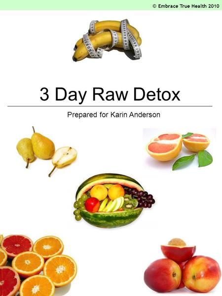 3 Day Raw Detox Prepared for Karin Anderson © Embrace True Health 2010.