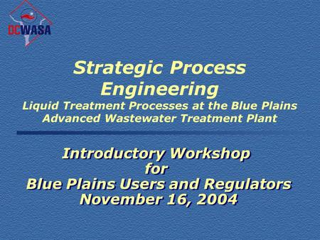 Strategic Process Engineering Liquid Treatment Processes at the Blue Plains Advanced Wastewater Treatment Plant Introductory Workshop for Blue Plains Users.