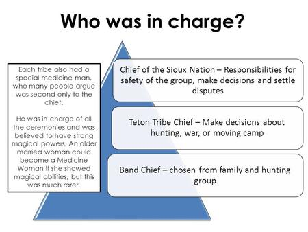 Chief of the Sioux Nation – Responsibilities for safety of the group, make decisions and settle disputes Teton Tribe Chief – Make decisions about hunting,
