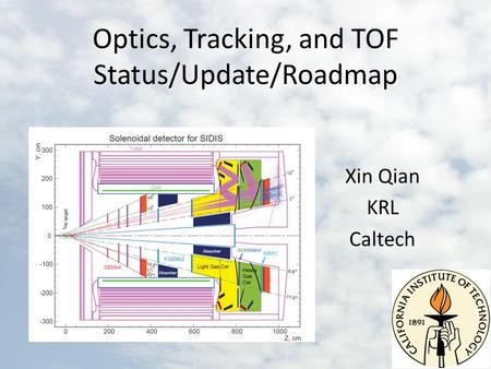 Optics, Tracking, and TOF Status/Update/Roadmap Xin Qian KRL Caltech.