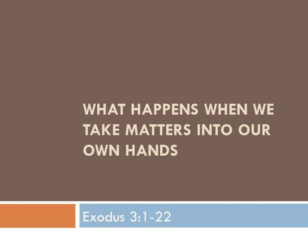 WHAT HAPPENS WHEN WE TAKE MATTERS INTO OUR OWN HANDS Exodus 3:1-22.