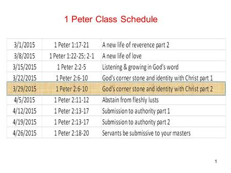 "1 1 Peter Class Schedule. 2 6 For this is contained in Scripture: ""Behold, I lay in Zion a choice stone, a precious corner stone, and he who believes."