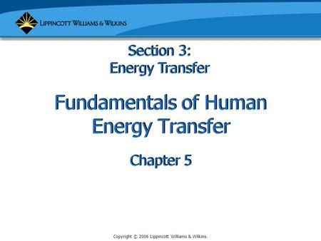 Copyright © 2006 Lippincott Williams & Wilkins. Fundamentals of Human Energy Transfer Chapter 5 Section 3: Energy Transfer.