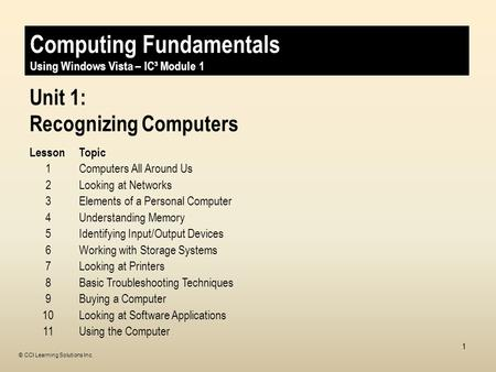 © CCI Learning Solutions Inc. 1 Unit 1: Recognizing Computers LessonTopic 1Computers All Around Us 2Looking at Networks 3Elements of a Personal Computer.