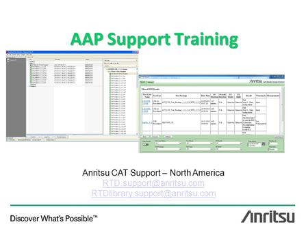 AAP Support Training Anritsu CAT Support – North America