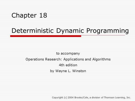 Chapter 18 Deterministic Dynamic Programming
