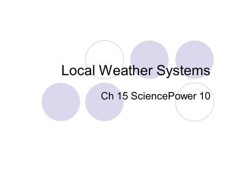 Local Weather Systems Ch 15 SciencePower 10. Lifting Mechanisms for Air (text p. 488) A.Solar radiation heats ground, ground heats air by conduction,