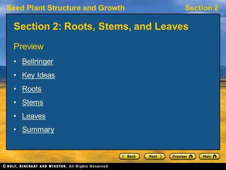Seed Plant Structure and GrowthSection 2 Section 2: Roots, Stems, and Leaves Preview Bellringer Key Ideas Roots Stems Leaves Summary.