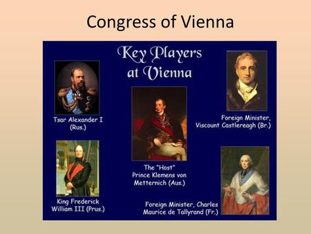Congress of Vienna. In this unit we will study the following aspects of the Congress of Vienna. Politics International Relations Map of Europe Consequences.