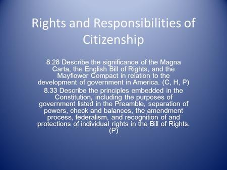 Rights and Responsibilities of Citizenship 8.28 Describe the significance of the Magna Carta, the English Bill of Rights, and the Mayflower Compact in.