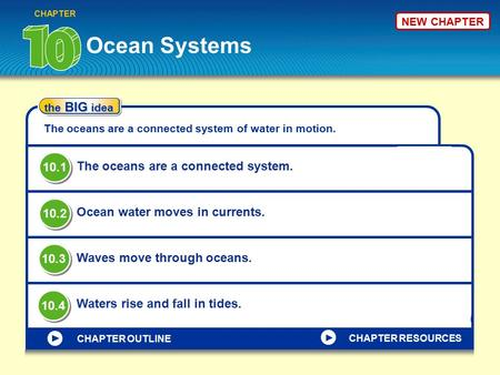 Ocean Systems CHAPTER the BIG idea The oceans are a connected system of water in motion. The oceans are a connected system. Ocean water moves in currents.
