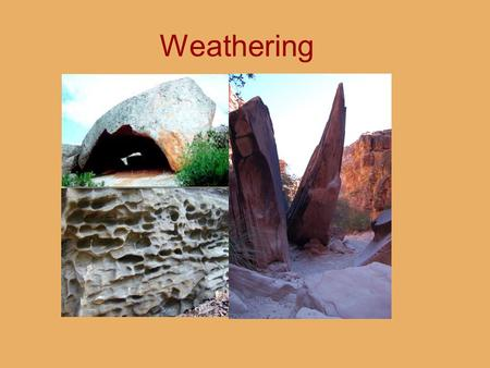 Weathering. 1.Weathering vs. Erosion 2.Joints: Setting the Stage 3.Physical (Mechanical) Weathering 4.Chemical Weathering 5.Products and Forms Made by.