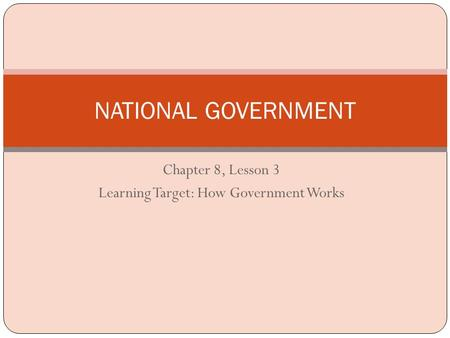 Chapter 8, Lesson 3 Learning Target: How Government Works NATIONAL GOVERNMENT.