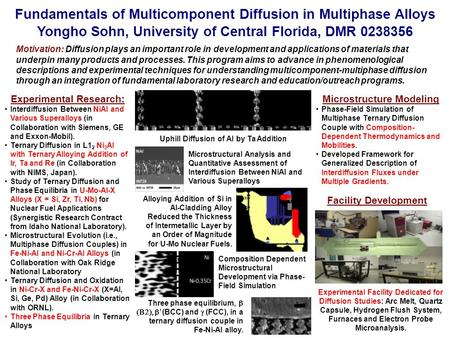 Fundamentals of Multicomponent Diffusion in Multiphase Alloys Yongho Sohn, University of Central Florida, DMR 0238356 Motivation: Diffusion plays an important.