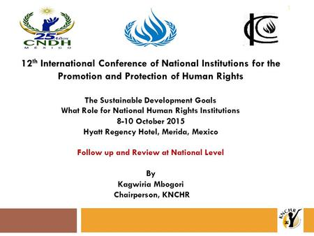 12 th International Conference of National Institutions for the Promotion and Protection of Human Rights The Sustainable Development Goals What Role for.