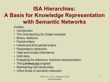 CSE 415 -- (c) S. Tanimoto, 2008 ISA Hierarchies 1 ISA Hierarchies: A Basis for Knowledge Representation with Semantic Networks Outline: Introduction The.
