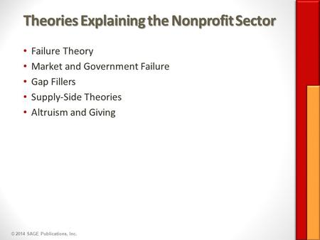 © 2014 SAGE Publications, Inc. Theories Explaining the Nonprofit Sector Failure Theory Market and Government Failure Gap Fillers Supply-Side Theories Altruism.