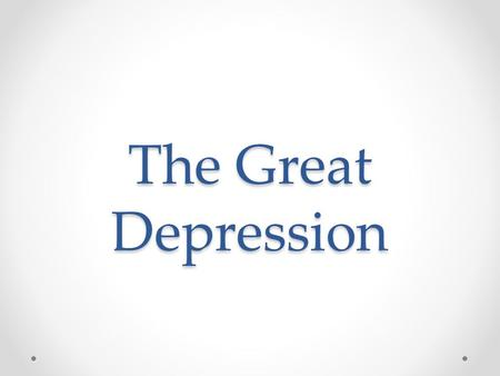 The Great Depression. Recap 1.What do you remember about the Roaring 20s?