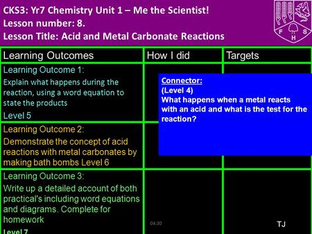 04:33 CKS3: Yr7 Chemistry Unit 1 – Me the Scientist! Lesson number: 8. Lesson Title: Acid and Metal Carbonate Reactions Learning OutcomesHow I didTargets.