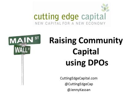 Raising Community Capital using