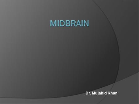 Dr. Mujahid Khan. Divisions  Midbrain is formally divided into dorsal and ventral parts at the level of cerebral aqueduct  The dorsal portion is known.