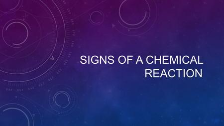 SIGNS OF A CHEMICAL REACTION. FORMATION OF: SIGNEXPLANATIONSITUATIONPICTURE GAS FORMATIONWhen a chemical reaction occurs, two or more substance chemically.