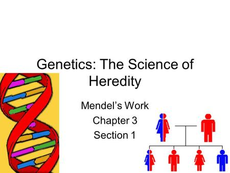 Genetics: The Science of Heredity Mendel's Work Chapter 3 Section 1.