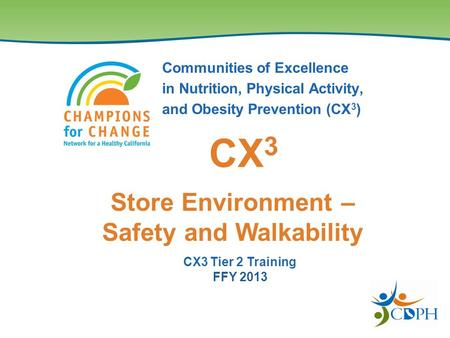 Communities of Excellence in Nutrition, Physical Activity, and Obesity Prevention (CX 3 ) Store Environment – Safety and Walkability CX 3 CX3 Tier 2 Training.