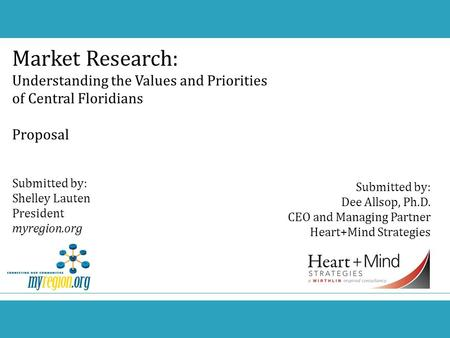 Market Research: Understanding the Values and Priorities of Central Floridians Proposal Submitted by: Shelley Lauten President myregion.org Submitted by: