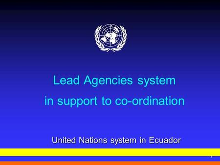 1 Lead Agencies system in support to co-ordination United Nations system in Ecuador.