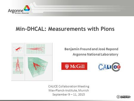 Min-DHCAL: Measurements with Pions Benjamin Freund and José Repond Argonne National Laboratory CALICE Collaboration Meeting Max-Planck-Institute, Munich.