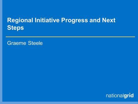Regional Initiative Progress and Next Steps Graeme Steele.