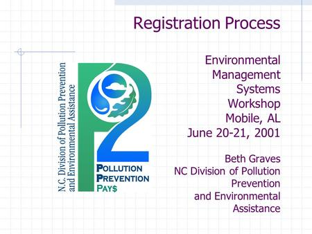 Registration Process Environmental Management Systems Workshop Mobile, AL June 20-21, 2001 Beth Graves NC Division of Pollution Prevention and Environmental.