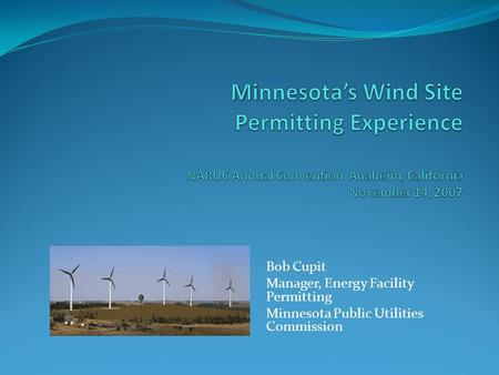 Bob Cupit Manager, Energy Facility Permitting Minnesota Public Utilities Commission.