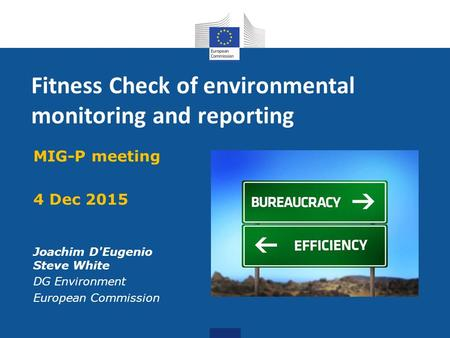 Fitness Check of environmental monitoring and reporting MIG-P meeting 4 Dec 2015 Joachim D'Eugenio Steve White DG Environment European Commission.
