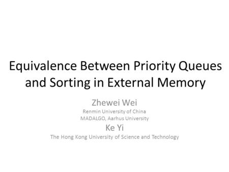 Equivalence Between Priority Queues and Sorting in External Memory