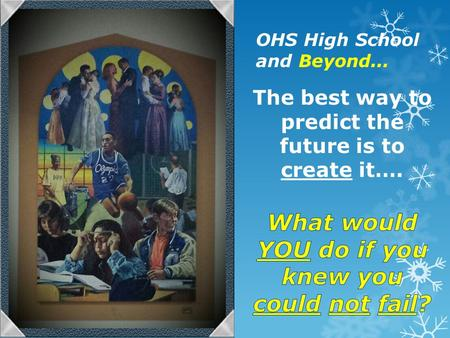 OHS High School and Beyond.... 71% What Seniors Want to Know…. TopicVerySomewhatInterested Tips for scholarship apps.63%25% Applying for FAFSA/WASFA56%27%