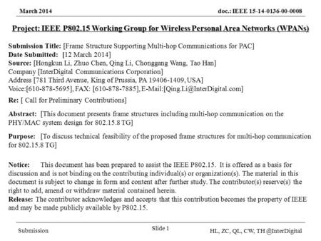 March 2014doc.: IEEE 15-14-0136-00-0008 Submission HL, ZC, QL, CW, Slide 1 Project: IEEE P802.15 Working Group for Wireless Personal Area.