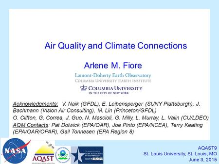 Air Quality and Climate Connections AQAST9 St. Louis University, St. Louis, MO June 3, 2015 Arlene M. Fiore Acknowledgments: V. Naik (GFDL), E. Leibensperger.