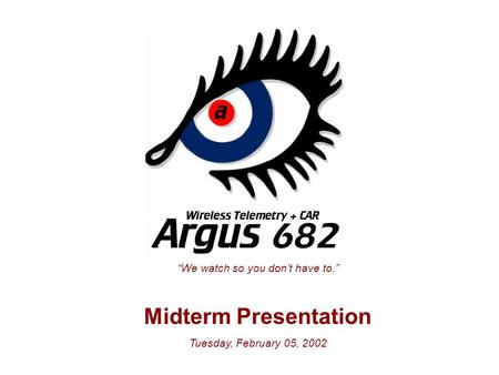 """We watch so you don't have to."" Midterm Presentation Tuesday, February 05, 2002."