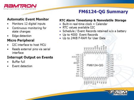 FM6124-QG Summary Automatic Event Monitor Monitors 12 digital inputs Continuous monitoring for state changes Edge detection Micro Peripheral I2C interface.