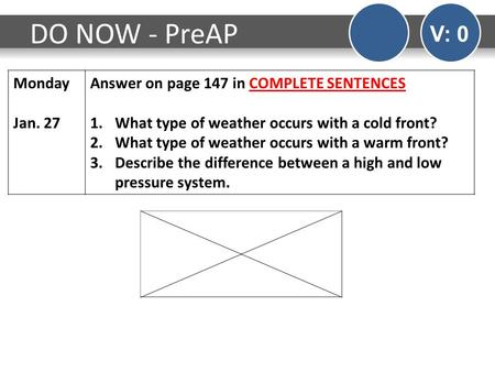 DO NOW - PreAP V: 0 Monday Jan. 27 Answer on page 147 in COMPLETE SENTENCES 1.What type of weather occurs with a cold front? 2.What type of weather occurs.